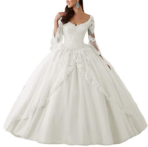 HUINI Ballkleider Lang Spitze Brautkleider Langarm Quinceanera Kleider Prinzessin V-Ausschnitt Hochzeitskleider Elfenbein 58