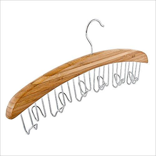 Relaxdays Gürtelbügel Bügel für 12 Gürtel Gürtelhänger Gürtelhalter Gürtelring Gürtelaufbewahrung Chrom Bambus