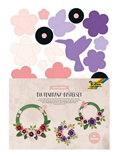 Bastelset Blütenkranz, Komplettset für 3 Kränze in unterschiedlichen Größen mit Papierblüten, zur zeitlosen Dekoration