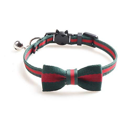 Hondenhalsband, kat en hond halsband met groene boog en klokken Gentleman zachte veilige hond halsband voor alle seizoenen ademende gewatteerde gezellige lichte outdoor wandelen Erzi, 1.0*28CM