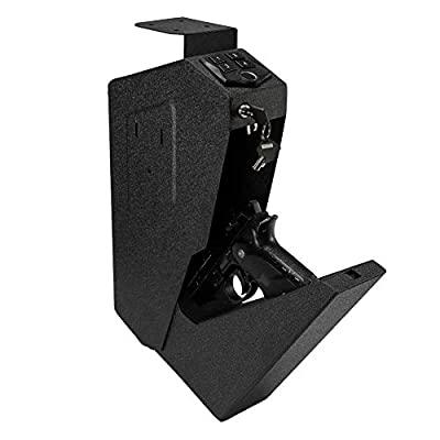 RPNB Mounted Firearm Safety Device with Auto Open Lid Biometric Fingerprint Lock Handgun Security Safe Gun Safe