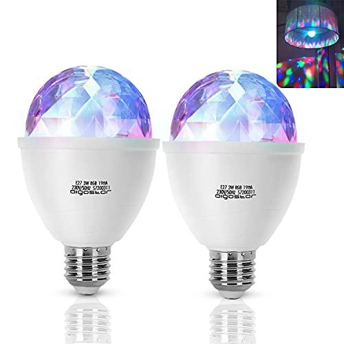 Aigostar LED Discolampe E27 3W RGB Discokugel 360° Rotierend LED-Partybeleuchtung Stimmungslicht Party Deko für Geburtstagsparty Hochzeitsfest Weihnachten Halloween, 2 Stück