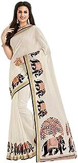 GoSriKi Art Silk Saree with Blouse Piece (ANIMAL-ELEPHANT_Off White_Free Size)