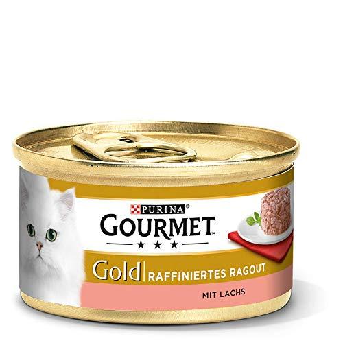 Purina GOURMET Gold Raffiniertes Ragout, köstliches Katzennassfutter, fein geschnetzelte Stückchen, Katzenfutter nass, mit Lachs, 12er Pack (12 x 85 g Dose)