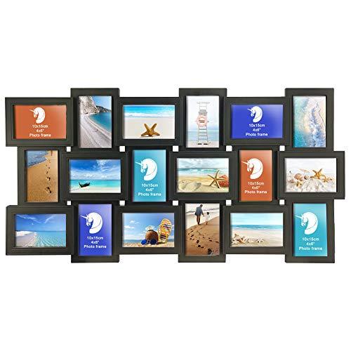 Edenseelake Collage Picture Frames 4x6 Multiple 18 Openings Photo Frame 4 x 6, Portrait Landscape Display, Black