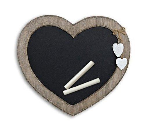 TEMPELWELT Memotafel in Herzform zur Kreide Beschriftung aus Holz braun schwarz 30cm x 27cm, Küchentafel Kreidetafel Memoboard Herz Herzchen Landhaus