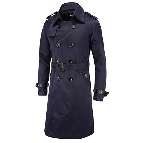 WSLCN Herren Retro Trench Jacke Zweireiher Trenchcoat Lange Slim Fit Herbst Freizeitmantel mit Gürtel Marine Blau DE M (Asie L)