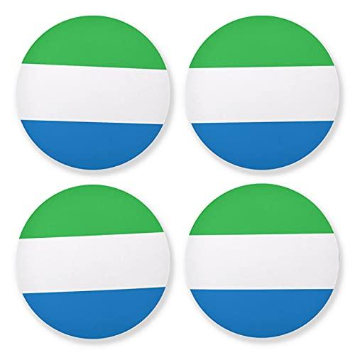 Juego de 4 posavasos redondos de madera con la bandera de Sierra Leona, 4 piezas, posavasos para bebidas, juego de 4 unidades, 10 cm