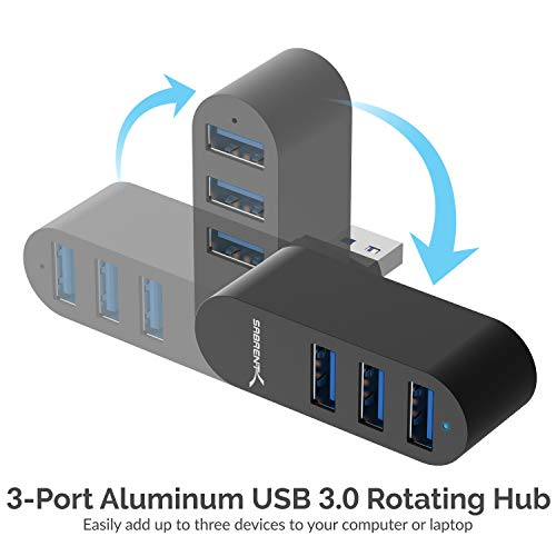 Sabrent Premium 3 Port Aluminium Mini USB 3.0 Hub [um 90 ° / 180 ° drehbar] (HB-R3MB)