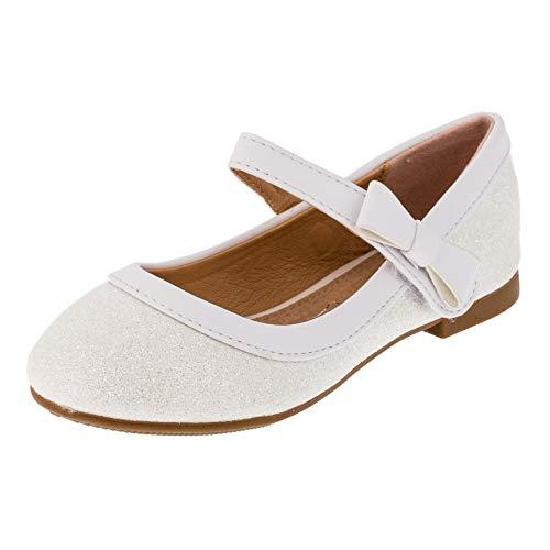 Festliche Mädchen Glitzer Ballerinas Schuhe mit Echt Leder Innensohle M407ws Weiß 35