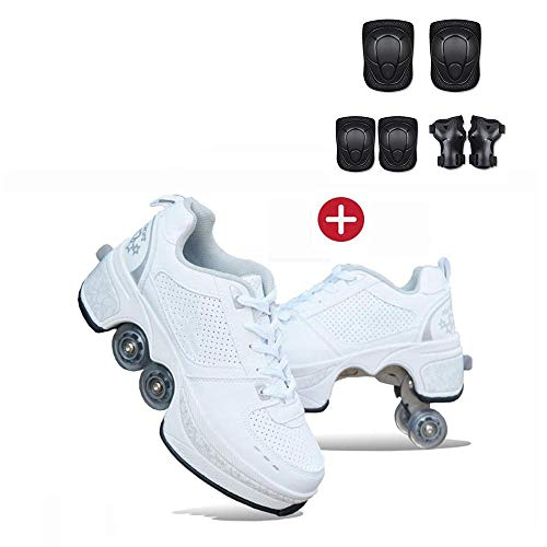 AQSG Roller Skates, Skating-Schuhe Für Männer Und Frauen Automatische Wanderschuhe Für Erwachsene Unsichtbare Riemenscheibenschuhe Skates Mit Zweireihigem Deform,White-39