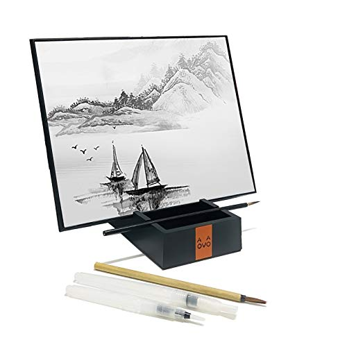 AOVOA Repeatable Water Drawing Board, Water Painting Board with Bamboo Brush and Stand, Inkless Water Drawing Set for Painting, Sketching, Relaxation Meditation Art and Mindfulness (L)