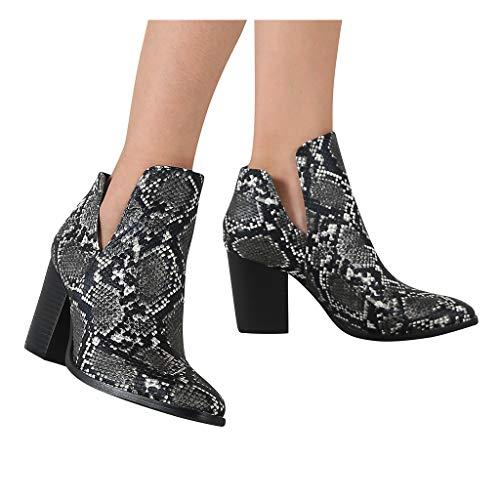 DNOQN Damen Western Stiefeletten Winter Schneeschuhe Spitzen Hochhackigen Mode Schlangenmuster Schuhe Stiefel Größe Booties