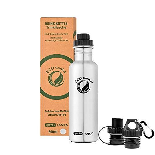 ECOtanka sportsTANKA Trinkflasche aus Edelstahl 0,8 Liter auslaufsicher - Wasserflasche BPA frei mit 3X Verschlüssen