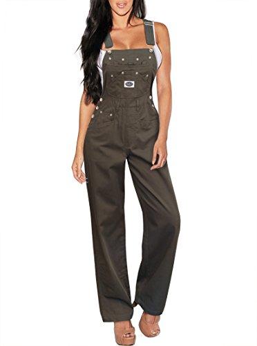 Revolt Damen klassische Jeans-Latzhose Medium Pvj156172.-Olive