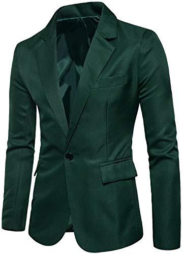 Men's Long Sleeves Peak Lapel Collar One Button Slim Fit Sport Coat Blazer, Deep Green, S/36 = Tag L