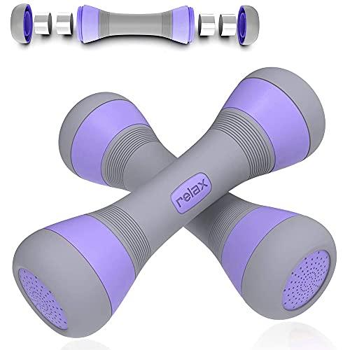 MOPOIN Kurzhanteln Verstellbar, Kurzhanteln 2er Set mit rutschfeste Gummihand Gewichte Hantel Set für Heim Fitnessstudio Office und Outdoor Workout 4KG (2 x 2 KG) Lila