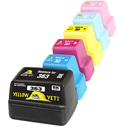 Yellow Yeti Ersatz für HP 363   6 Druckerpatronen kompatibel für HP Photosmart C7280 C8180 C5180 C6180 C6280 C7180 3310 3210 3110 8250 D6160 D7160 D7260 D7460