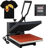 F2C 15' x 15' Black Heat Press Machine Digital Clamshell Transfer Sublimation Print Press Machine for T-Shirt 110V
