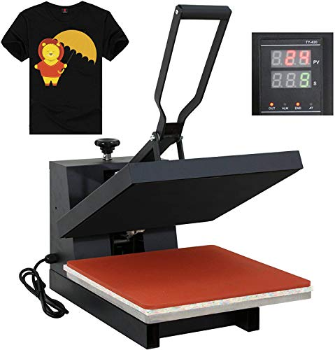 "F2C 15"" x 15"" Black Heat Press Machine Digital Clamshell Transfer Sublimation Print Press Machine for T-Shirt 110V"