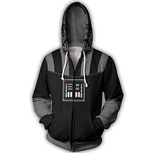 Darth Vader Hoodie Zip Up Sweatshirt Cosplay Costume for SW Men 2XL