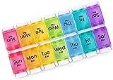 Portapillole Settimanale 14 scomparti, Portapillole Giornaliero Grande 7 Giorno Pillole Organizzatore per Vitamine, Olio di Pesce, Integratori, Pillole e Medicinali