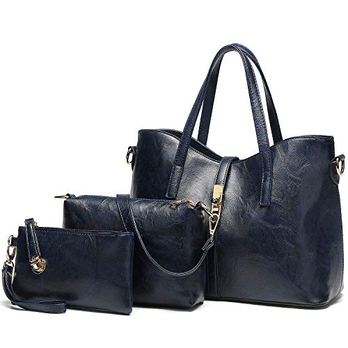 MATERIAL: High Quality PU Leather,Purses and Handbags 3 PIECES PURSES SETS:You can carry it in diffrent ways: Leather Tote---You can use this as large tote bag to carry your stuffs when you going out; Shoulder Purse---It contains one adjuatbel should...