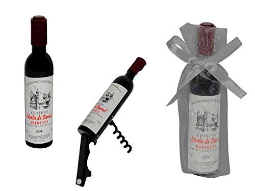 Lote de 20 Abridores-Sacacorchos'Botella Vino' en Bolsas de Tull Lisas. Destapadores. Detalles de Boda y Eventos.