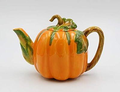 """Fine Ceramic Pumpkin Teapot, 8"""" L"""