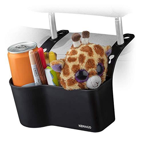Kewago Auto Organizer mit Getränkehalter für die Kopfstütze. Für Verpflegung, Reiseutensilien und Spielsachen für Kinder. Stabil und einfach an der Kopfstütze anzubringen