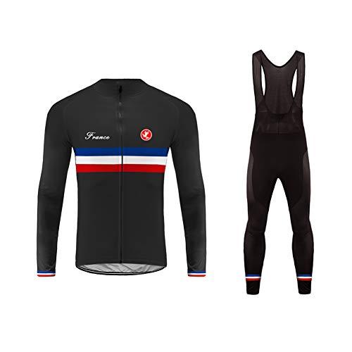 Uglyfrog Homme Cuissard VTT + Maillot Velo à Manches Longues Respirant Vêtements de Cyclisme Équipe Cycliste