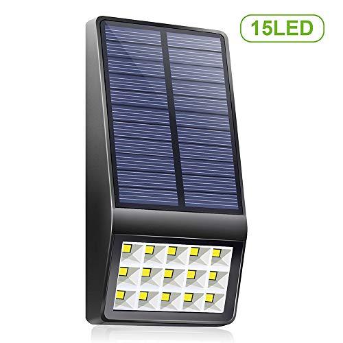 Lixada センサーライト ソーラーライト 15LED 調光機能付き 夜間I自動点灯 三つ照明モード P65防水 省エネ 配線不要 取り付け簡単 玄関 庭 屋外 駐車場用 ガーデンライト