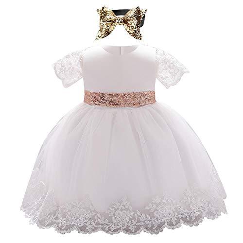 FYMNSI Vestito da bambina per primo compleanno, a maniche corte, in pizzo, con paillette, fiocco, tulle, abito da sera, da matrimonio, con fascia per capelli, per 6-24 mesi, A-bianco, 18-24 Mesi