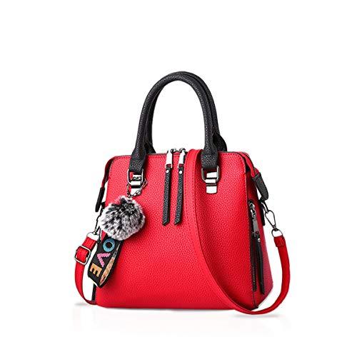 NICOLE & DORIS Frau Mode-Handtaschen Tragetaschen Klassisch Damen Körper überqueren Schultertasche Kuriertasche Leder Grosse Kapazität rot