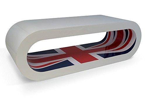 Zespoke Design Retro Blanc Brillant avec Prise D'Union Intérieure Café Cerceau Tableau/TV Meuble UK Fait Différentes Tailles