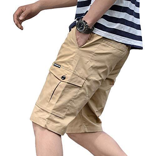 Pantalones Cortos de Pierna Recta de Ajuste Relajado clásico para Hombre, Pantalones Cortos de Verano Finos para Deportes y Ocio, con múltiples Bolsillos 3XL