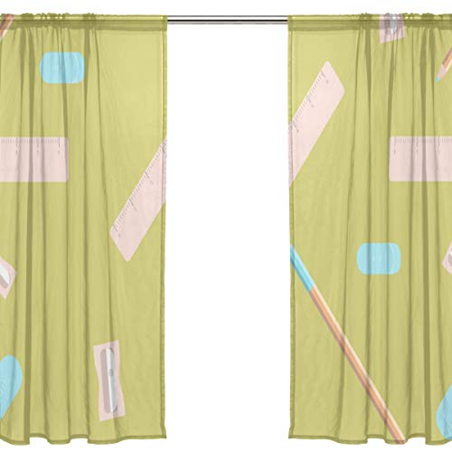 Yiayen Colorful Supplies Pencil Sharpener Best Sheer Curtains Unique Living Room Curtains 54 X 84 Inches Long,2 Panels Commercial Window Curtains Shower Curtains for Bedroom