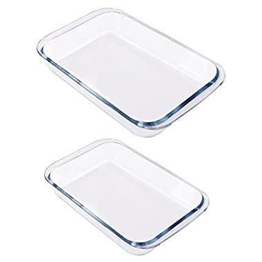 Utopia Kitchen Borosilicate Glass Oblong Baking Dishes 2-Pack Glass Bakeware - 1.8L (11.5 x 7 x 2 Inch) & 2.4 L (13.5 x 8 x 2 Inch) - Dishwasher Safe & Oven Friendly