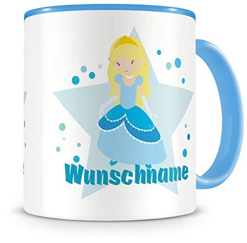 Samunshi® Kindertasse mit Namen Tasse Winter Prinzessin Personalisierte Tasse mit Namen Kinder Kinderbecher mit Namen Kindergarten blau 300ml
