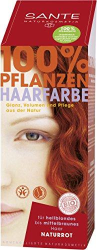 SANTE Naturkosmetik Pflanzen-Haarfarbe Pulver, Naturrot, 100g