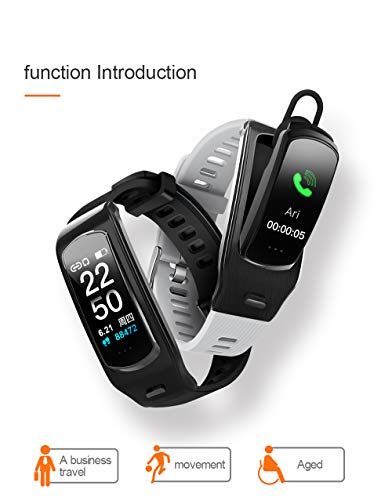 PGTC Fitness Sport Smartwatch Bluetooth Headset with Heart Rate Monitor, Blood Pressure Test, IP68 Water Resistant Smart Talkband Calorie Counter Pedometer Watch for Android and iPhone (Black)