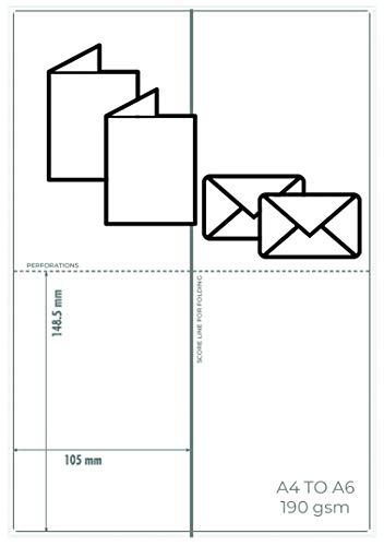 OfficeGear Kleine Grußkarten (A6-Größe), 50 Stück, perforiert, bedruckbar, blanko 190 g/m², mit Umschlägen – 105 mm x 148,5 mm, wenn gefaltet, für Geburtstage, Weihnachten, Muttertag