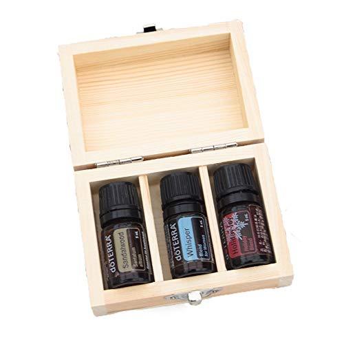 MOMIN-HM Huile Essentielle Boîte Essential Oil Box en Bois Case 3 Huiles Organisateur Contient 5ml Bouteille pour Voyage et présentations boîte-Cadeau