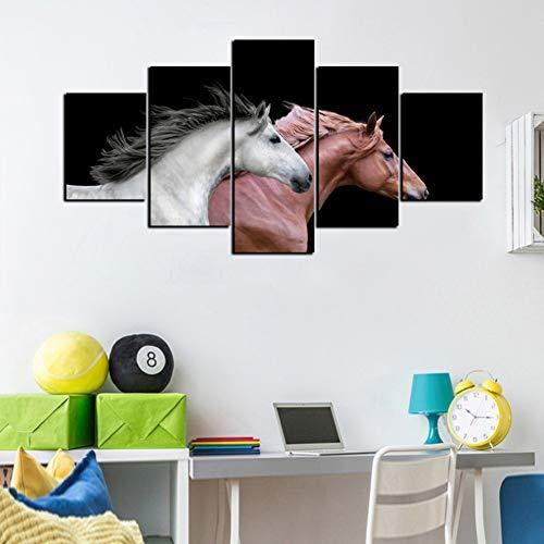 XITANG 5 Stuks Canvas Schilderij Modulaire Afbeeldingen Wandkunst Hd Prints Dierlijk Paard Voor Woonkamer Huisdecoratie Artwork Poster