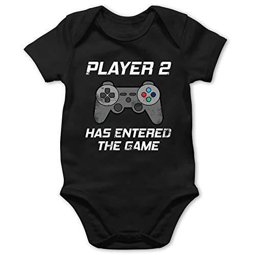 Shirtracer Partner-Look Familie Baby - Player 2 Has Entered The Game Controller grau - 1/3 Monate - Schwarz - Body Player 2 - BZ10 - Baby Body Kurzarm für Jungen und Mädchen
