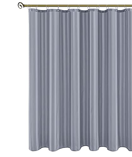 Biscaynebay Fabric Shower Curtains or Liners 72 Inches by 72 Inches, Silver Grey Water Repellent Damask Stripes Bathroom Curtains, Rust Resistant Grommets Top Weighted Bottom with 12 Hooks