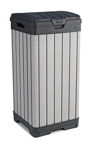 Keter Bidone Rockford per Rifiuti Ottimale per Uso Esterno e Raccolta Differenziata, Grigio, 41 x 41 x 87.5 cm