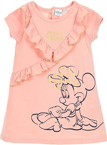 cooe-fun-t-shirts Minnie Mouse jurk lichtblauw of roze met goudglitter 12 18 24 36 maanden