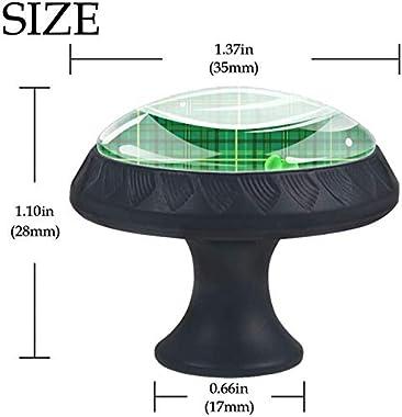 """4 Pack Round Kitchen Cabinet Knobs Pulls (1-37/100"""" Diameter) - Green Checkered Plaid with Shamrock Clover - Dresser Drawer/Door Hardware - DIY Pattern Customization"""