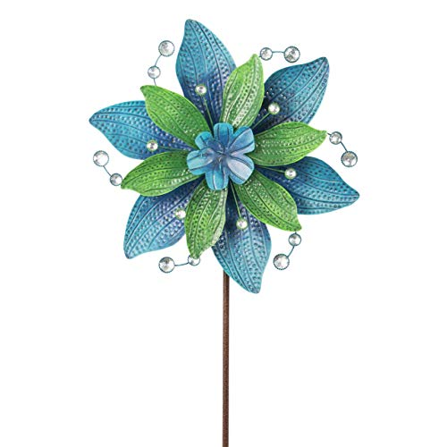 CIM Metall Windrad - Exotic Flower - Ø48cm, Gesamthöhe: 160cm - inkl. 3-teiligem Standstab - leichtgängig drehend (Hawaii)